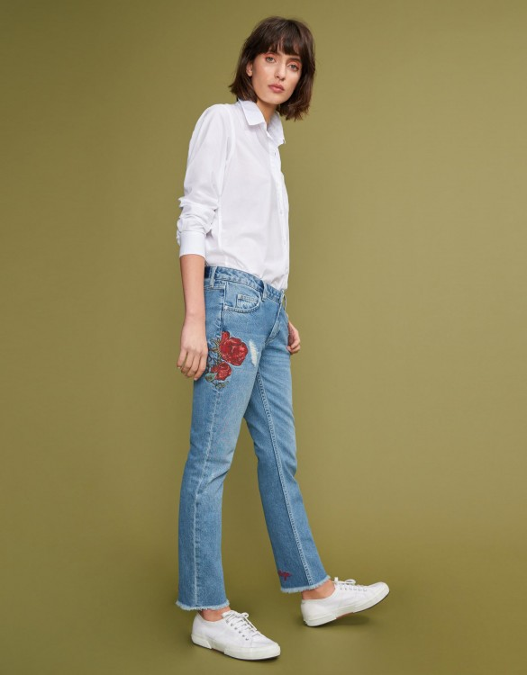 Jean slim cropped Preston - DENIM EMBROIDERED