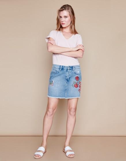 Denim skirt Jena Embroidered - DENIM EMBROIDERED