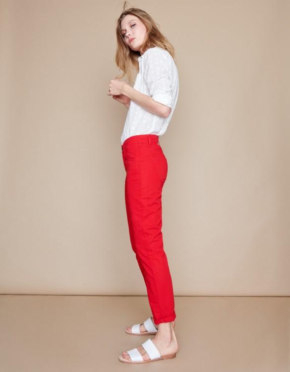 Boyfriend trousers Nina Color - VERMILLON