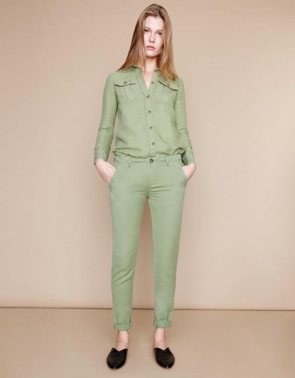 Pantalon chino Pam Linen - MILITARY GREEN
