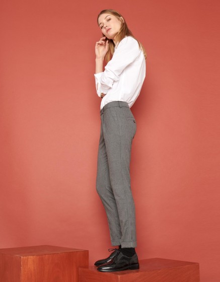 Pantalon cigarette Larson Fancy - GRAPHITE