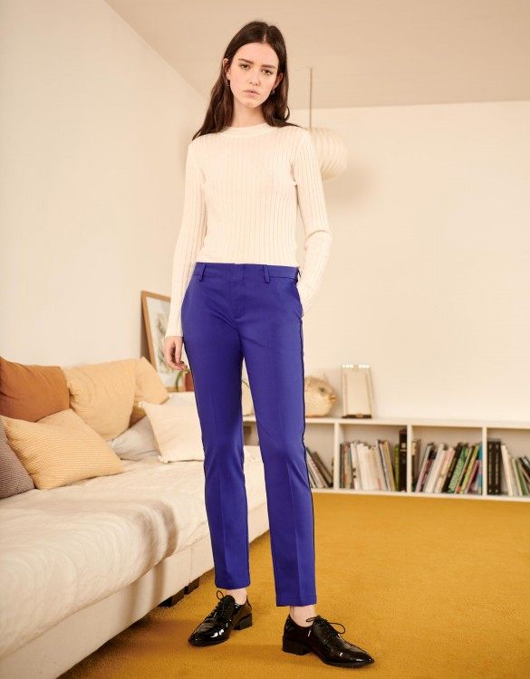 Pantalon Cigarette Lizzy Color - VICTORIAN BLUE PIPING