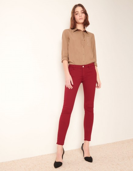 Pantalon skinny cropped Lily Color - GROSEILLE