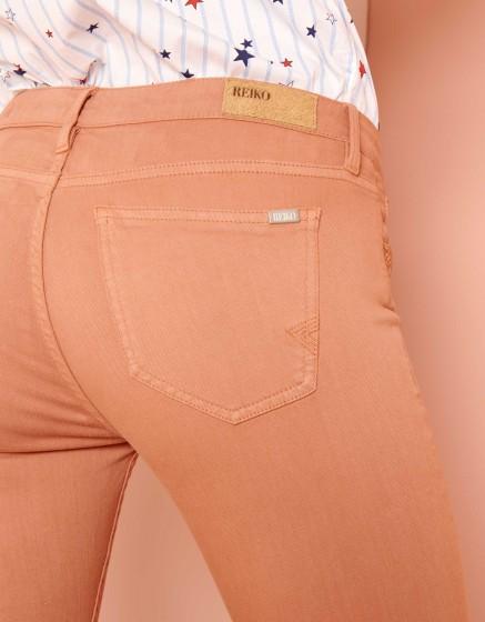 Pantalon skinny cropped Lily Color - SALMON