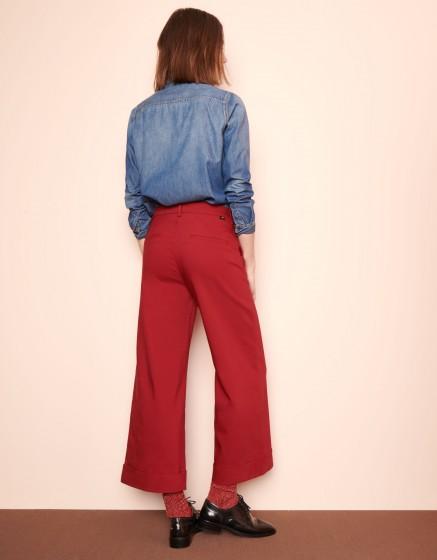 Pantalon wide cropped Paolo Color - CHILI PEPPER