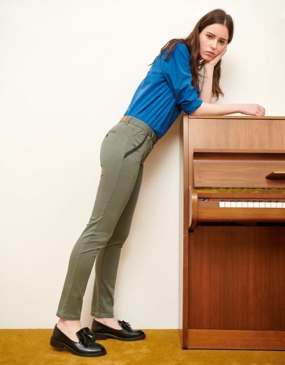 Chino Trousers Sandy Ribbon - VERT ACIER