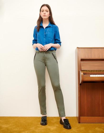 Pantalon chino Sandy Ribbon - VERT ACIER