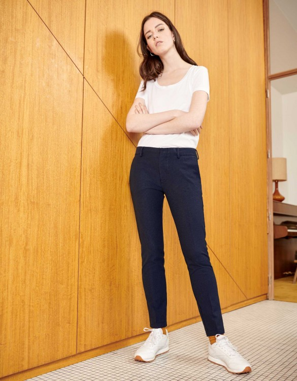 Cigarette Trousers Lizzy Fancy - NAVY DOTS