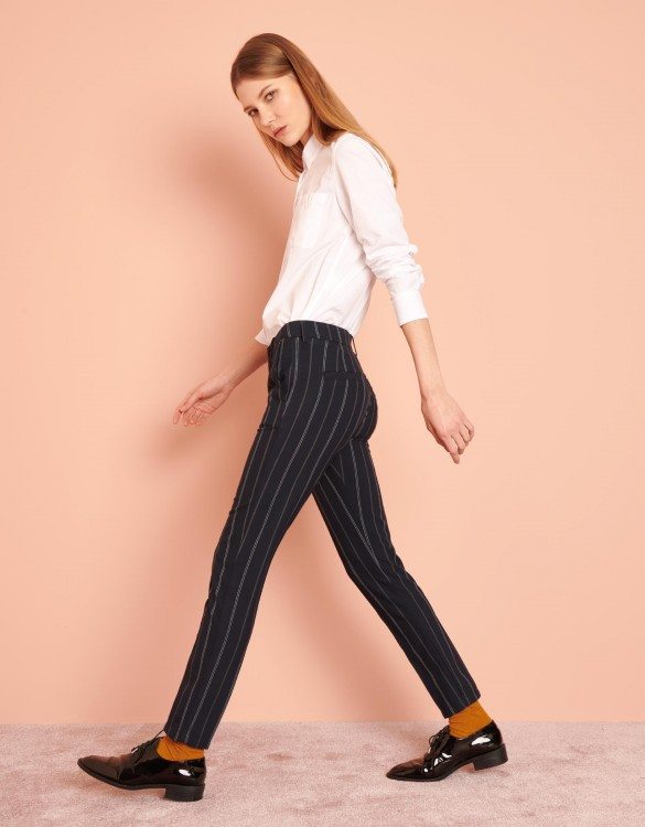Pantalon cigarette Lizzy Fancy - NAVY STRIPED