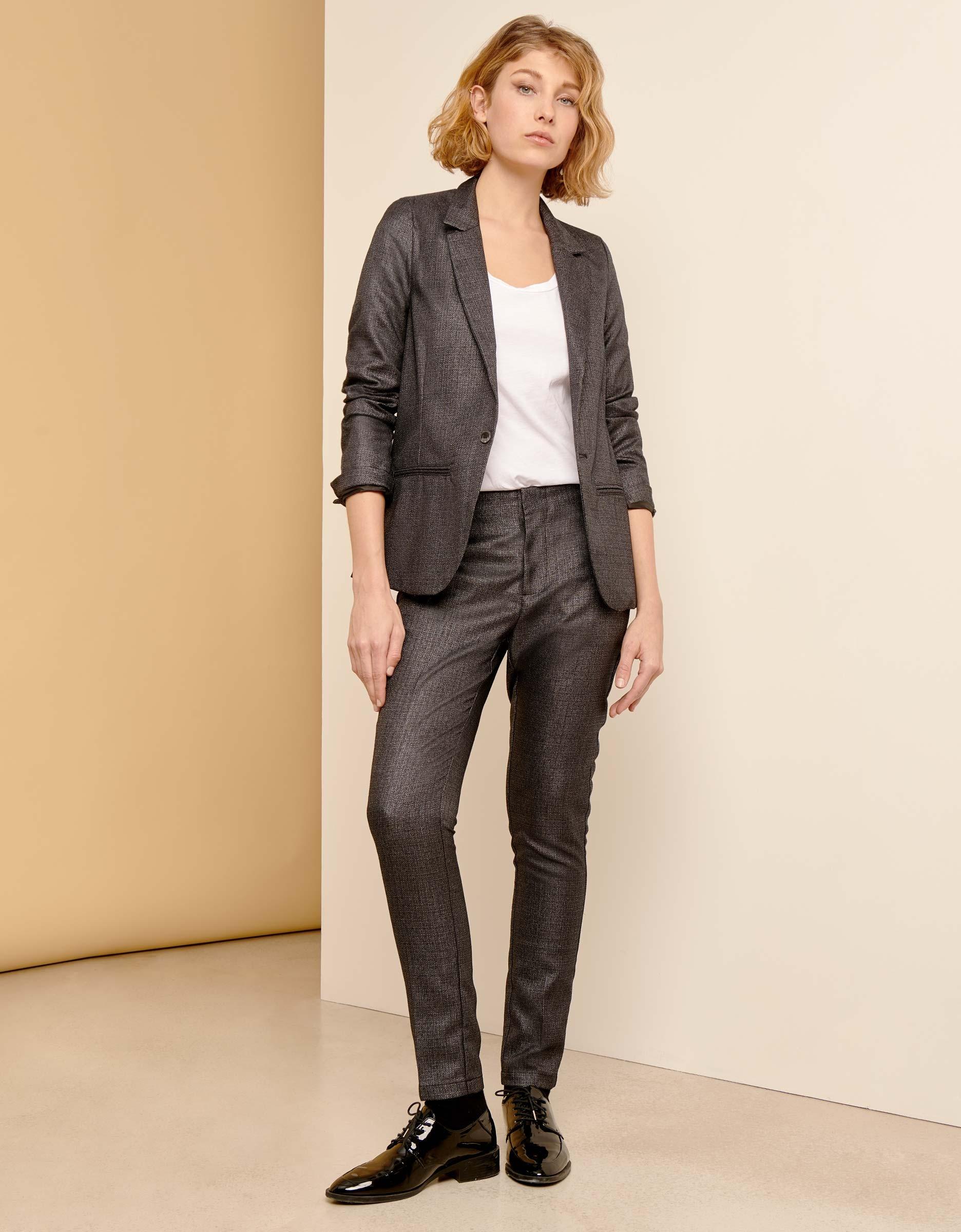 Blazer Jacket Blair Fancy For Women Metallic Black Reiko