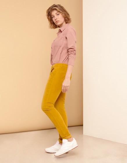 Pantalon chino Sandy Velvet - DARK HONEY