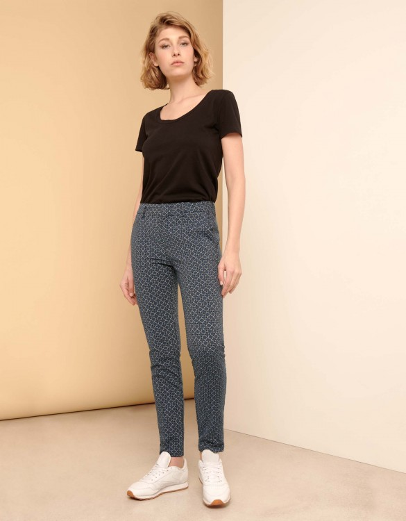 Cigarette Trousers Lizzy Fancy - NAVY FLOW