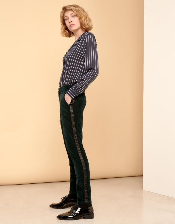 Cigarette Trousers Lizzy Velvet - HERRING DEEP GREEN
