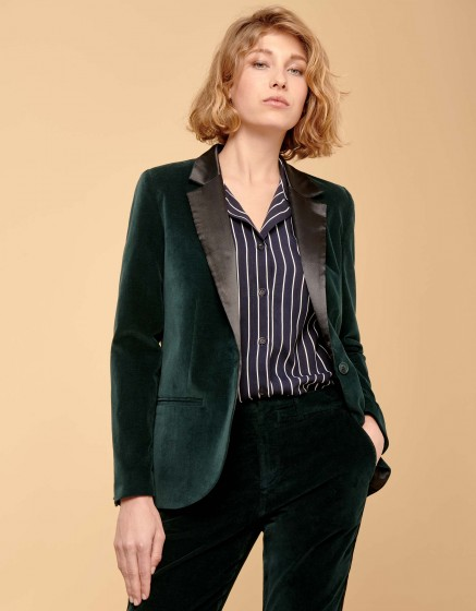 Blazer Blair Velvet - DEEP GREEN/BLACK
