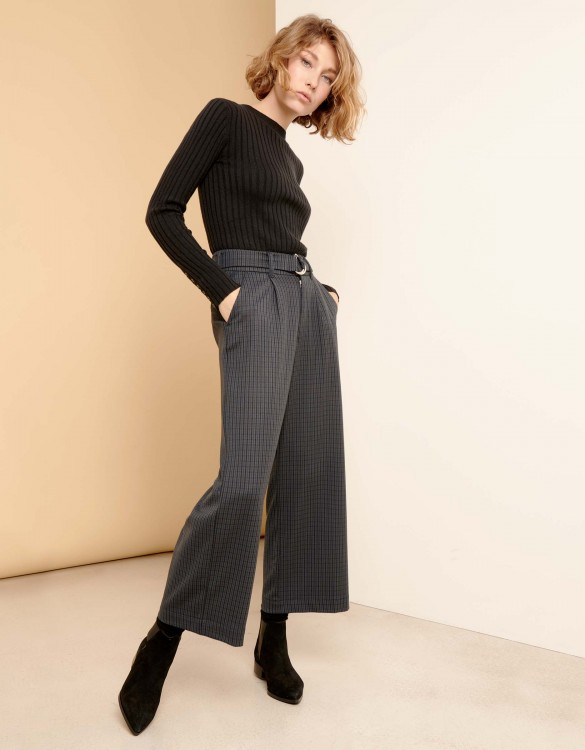 Wide cropped trousers Pablo Fancy  - NAVY PLAID