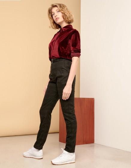 Pantalon taille haute Arnaud Fancy - CHECKED GREY