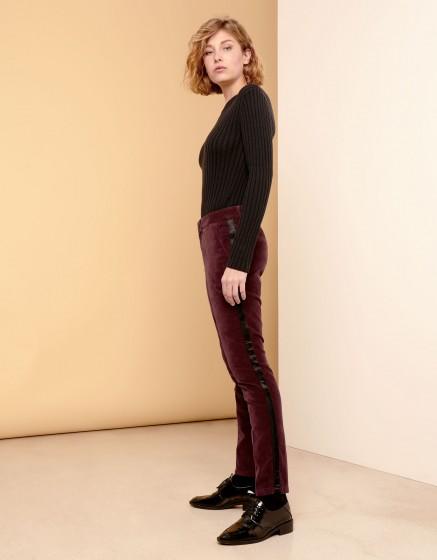 Pantalon cigarette Lizzy Velvet - HERRING LIE DE VIN