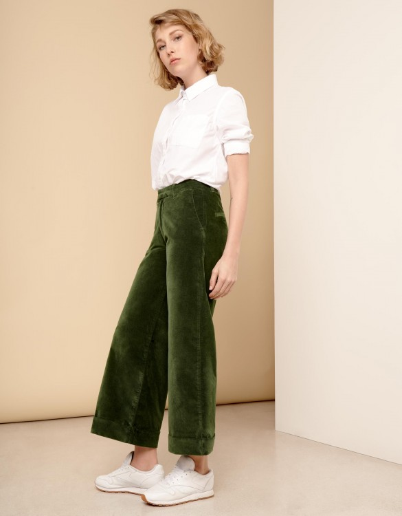 Wide cropped trousers Paolo Velvet - VERT FEUILLE
