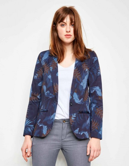 Blazer Blair Printed - NAVY TROPIC