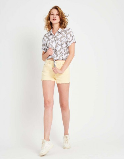 Short en jean coloré Servane Vintage - VANILLE