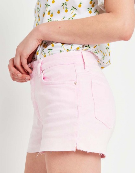 Short en jean coloré Servane Vintage - ROSE
