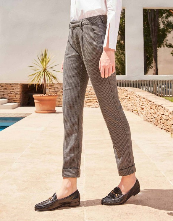 Cigarette Trousers Larson Fancy - GREY DROPS