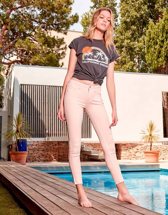 Pantalon skinny cropped Lily Color - POUDRE