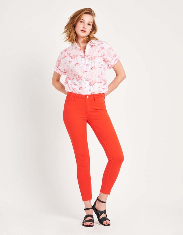 Pantalon skinny cropped Lily Color - WATERMELON