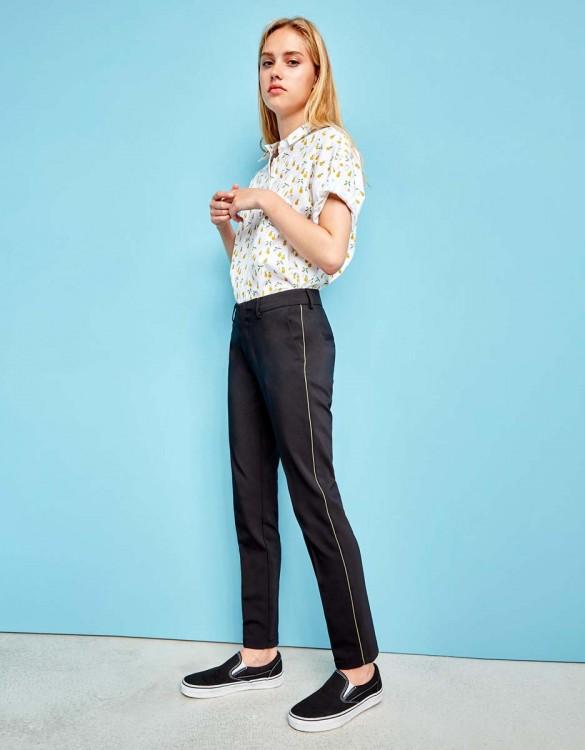 Cigarette Trousers Lizzy Color - BLACK/KAKI PIPING