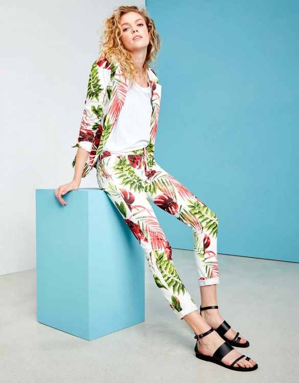 Chino Trousers Sandy Printed - WHITE TROPIC