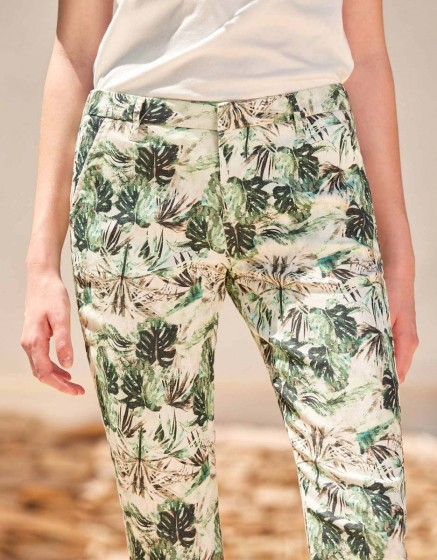 Chino Trousers Sandy Skinny Printed - PALM GREEN