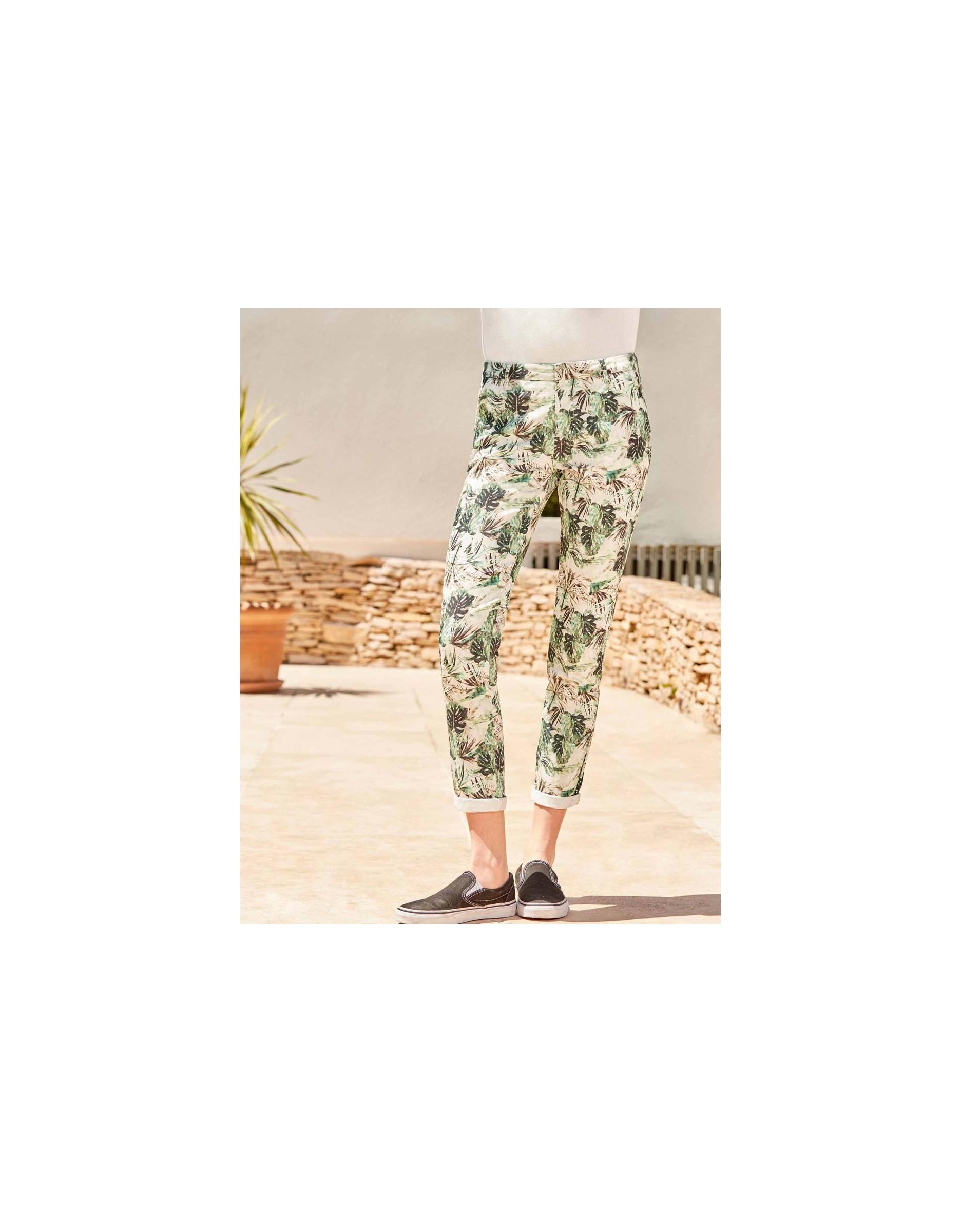 Sandy Pantalon Palm Reiko Skinny Printed Green Chino Femme W9IEDH2