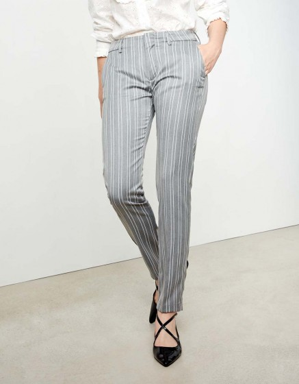 Cigarette Trousers Lizzy Fancy - STEEL STRIPED