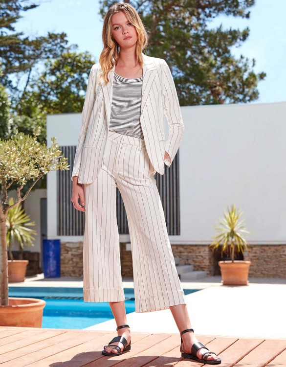 Pantalon Wide cropped Paolo Fancy - WHITE STRIPED