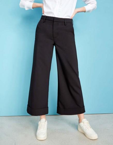 Pantalon wide cropped Paolo Color - BLACK