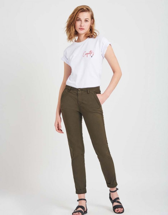 Light Chino trousers Pam - DARK KAKI