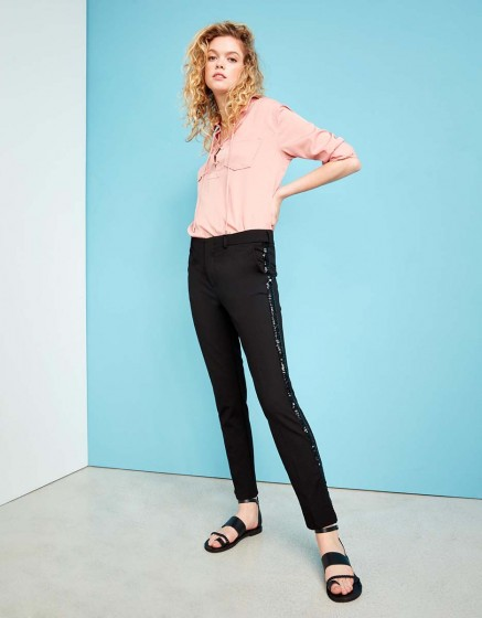 Cigarette Trousers Lizzy Sparkle - BLACK