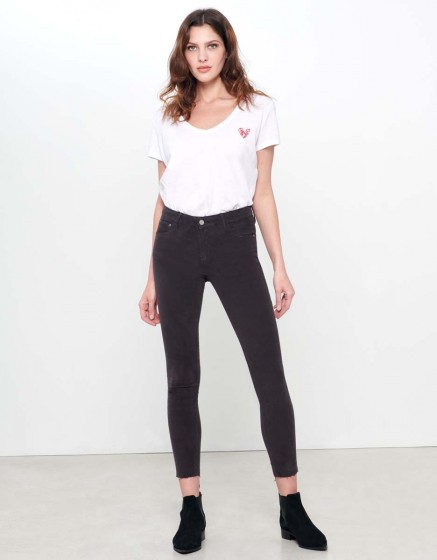 Skinny cropped trousers Lily Velvet - CARBONE