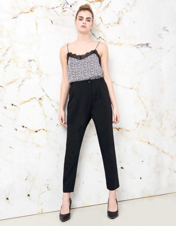 Loose Cigarette Trousers Luna color - BLACK