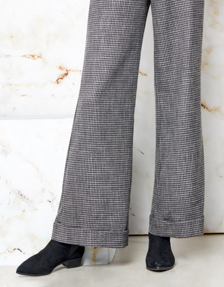 Wide trousers Pamelo Fancy - SILVER HOUNDSTOOTH