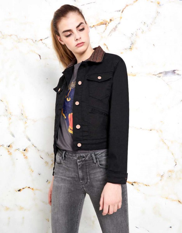 Veste en jean noire Justine - DNM BLACK