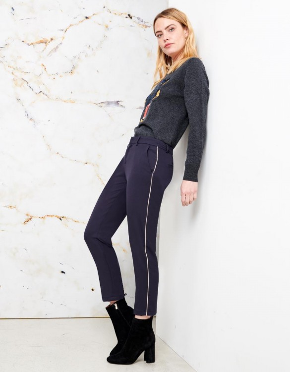 Cigarette Trousers Lizzy Color - NAVY PIPING BEIGE