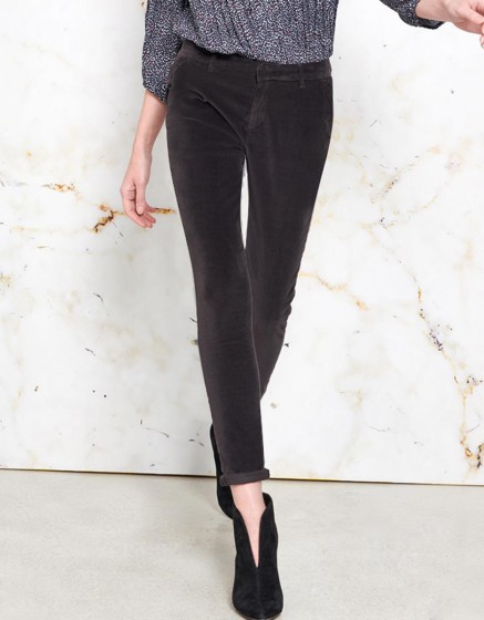 Pantalon chino Sandy Velvet - CARBONE