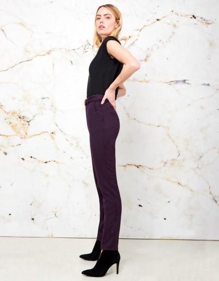 Pantalon Taille Haute Arnaud Fancy - SQUARE CARMIN