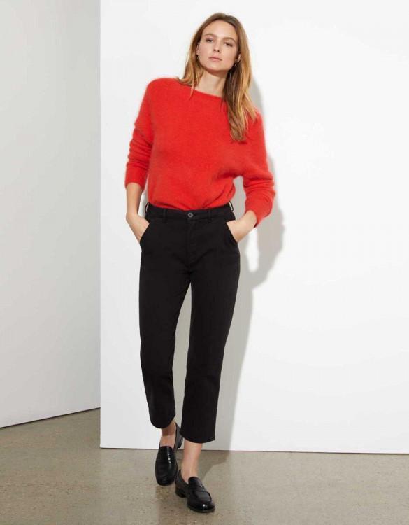 Chino trousers Sandy highwaist cropped - BLACK