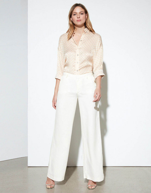 Wide trousers Pamelo Linen - GINGER