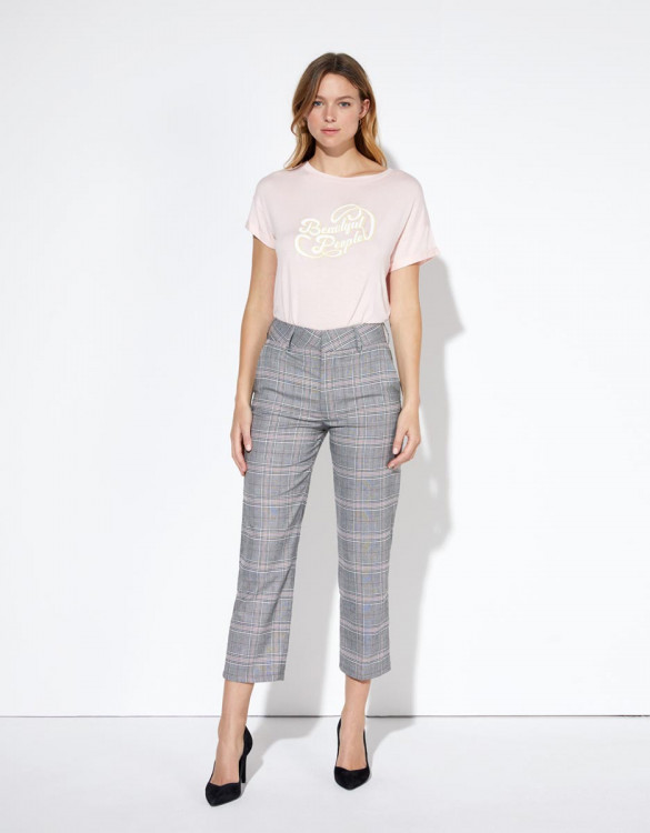 Cigarette trousers Liv Straight Cropped - SPARKLE CHECKS