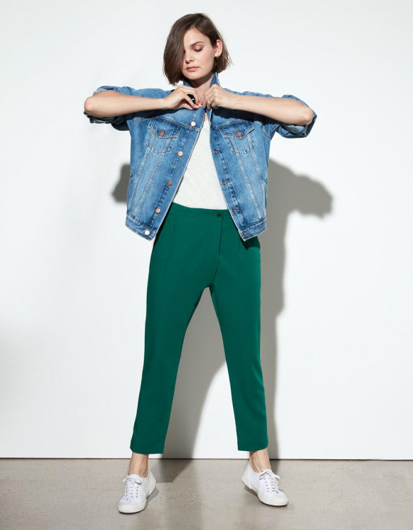 Pantalon loose cigarette Luna Color - EMERALD GREEN
