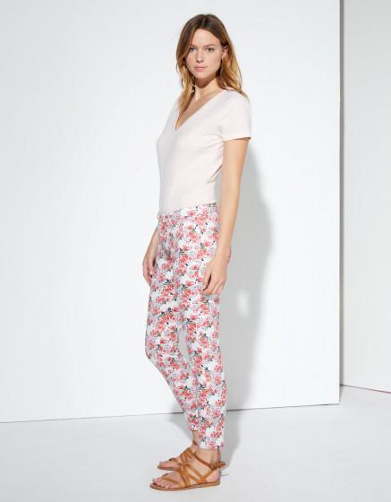 Pantalon chino Sandy Cropped Printed - NEON PEONIES