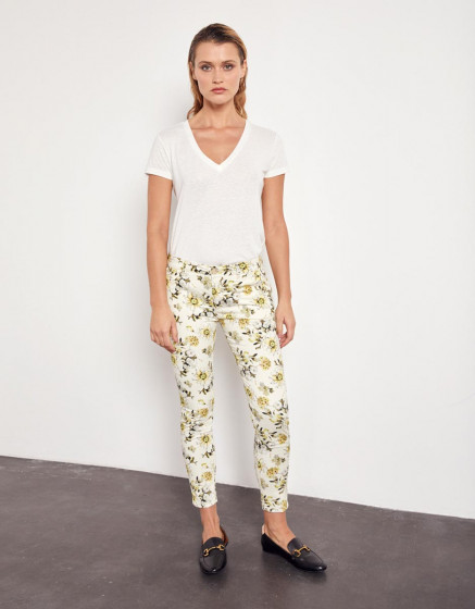 Pantalon chino Sandy Corpped Printed - YELLOW DAISY